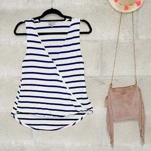 Navy and white striped sleeveless wrap crop top